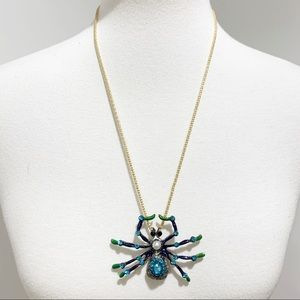 Betsey Johnson Crystals large spider necklace NWT